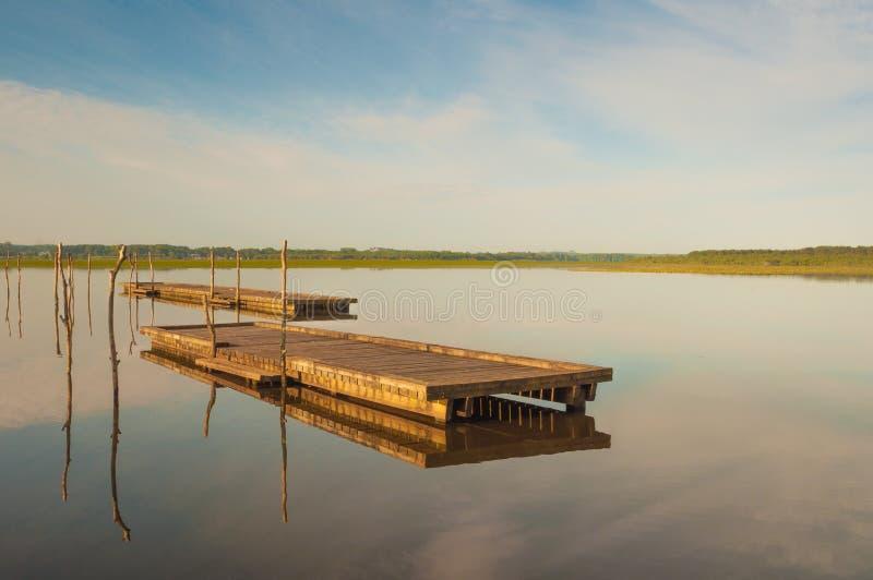 Pilastro di legno in un lago Alba a Soustons, Francia Mattina di estate fotografie stock libere da diritti