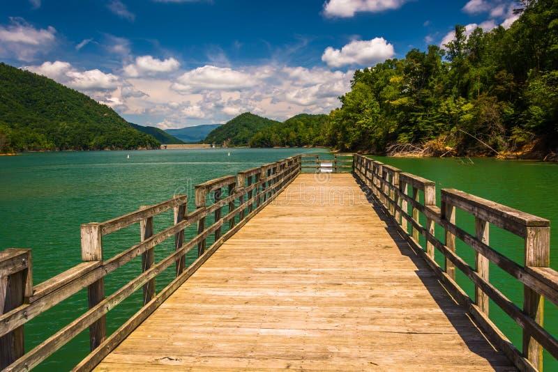 Pilastro di pesca nel lago Watauga, in foresta nazionale cherokee, Tenne fotografia stock libera da diritti