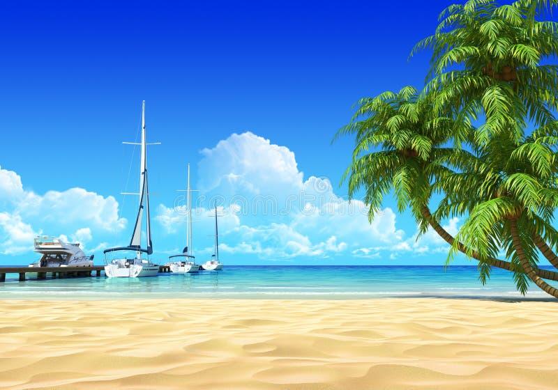 Pilastro e palme del porticciolo sulla spiaggia tropicale idillica