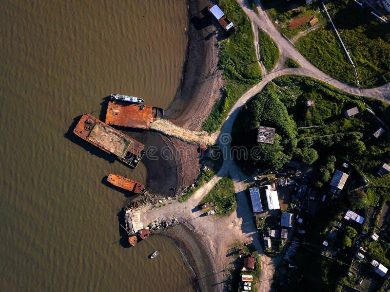 Pilastro sommerso nel mare di Okhotsk fotografia stock