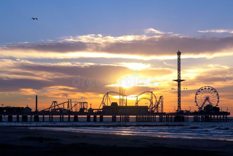 Pilastro storico di piacere dell'isola di Galveston fotografia stock libera da diritti