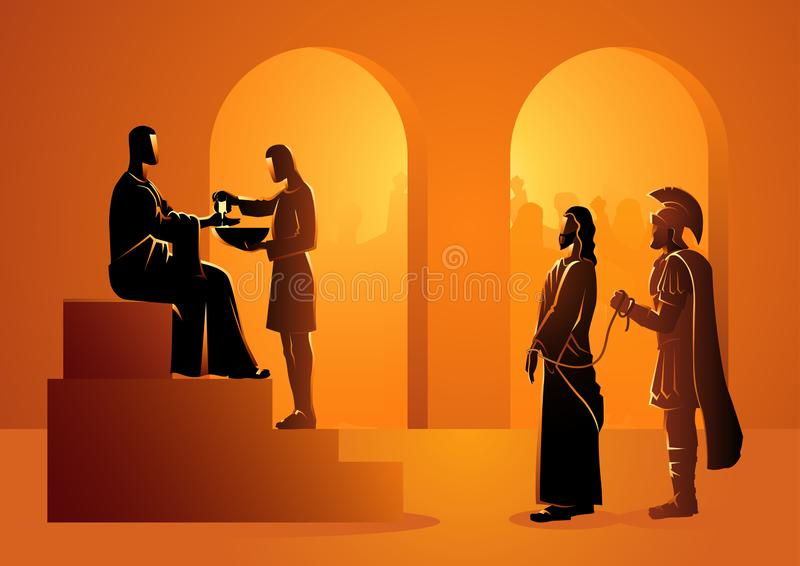 Pilate condena Jesus para morrer ilustração stock