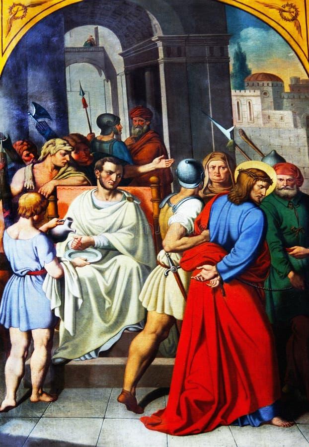 Pilate tvättade hans händer royaltyfri bild