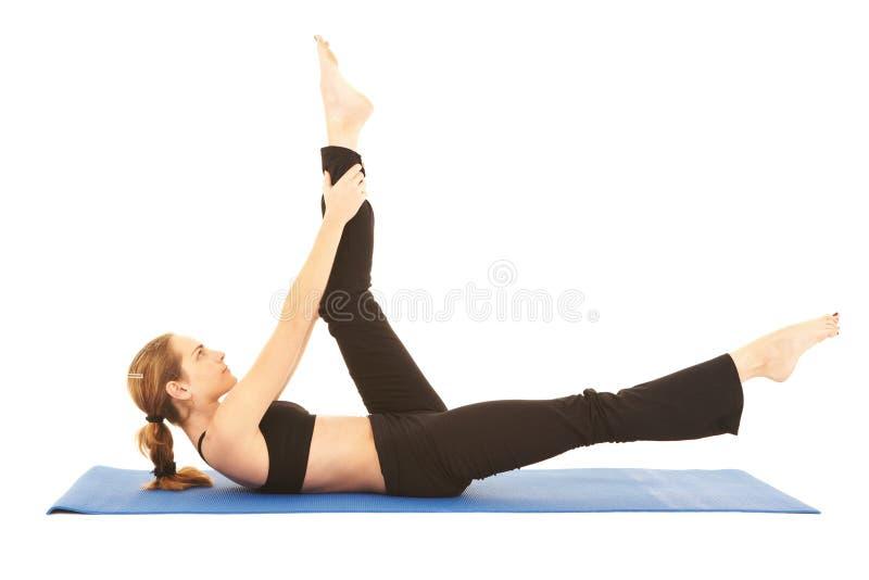 Pilates Übungsserie stockbild
