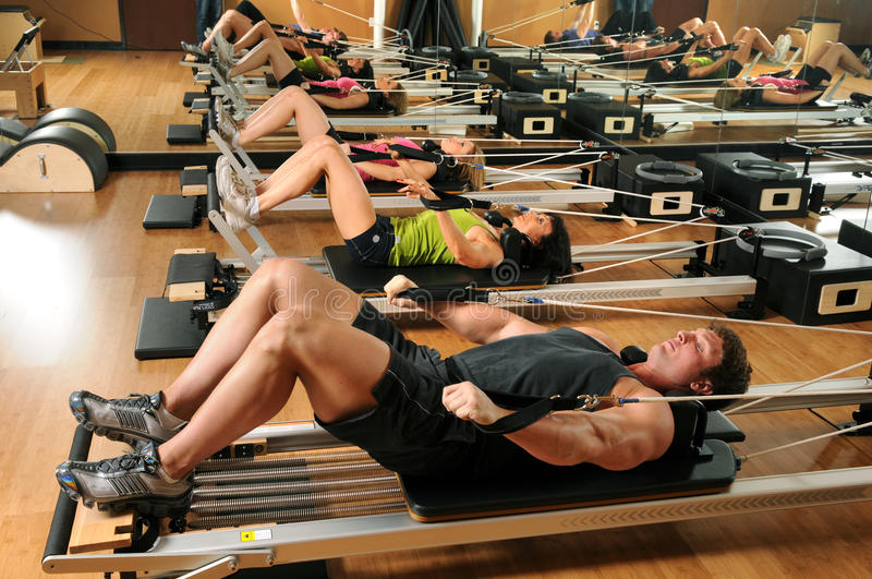 Pilates Class in a Gym royalty free stock image