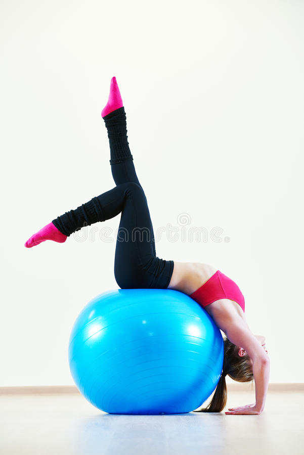 Pilates exercises with fitness ball royalty free stock images