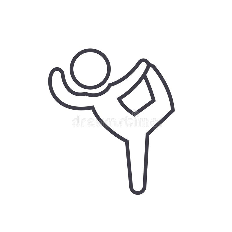 Pilates, gimnasia, práctica, ejercita la línea ejemplo plana, icono aislado vector del concepto en el fondo blanco stock de ilustración