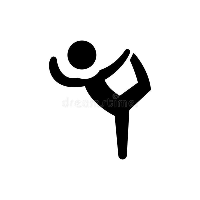 Pilates - gimnasia - práctica - icono del ejercicio, ejemplo del vector, muestra negra en fondo aislado stock de ilustración