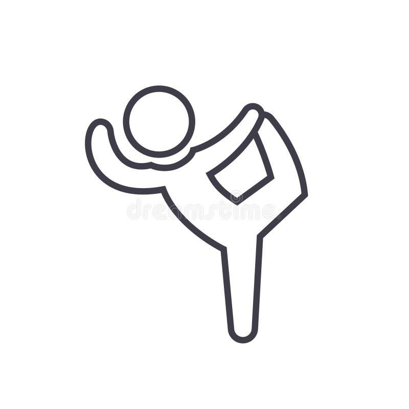 Pilates, Gymnastik, Praxis, üben flaches Zeilendarstellung, lokalisierte Ikone des Konzeptes Vektor auf weißem Hintergrund aus stock abbildung