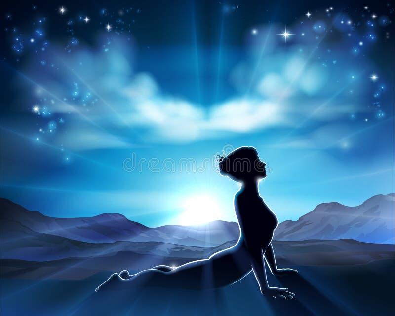 Pilates o fondo de la mujer de la silueta de la actitud de la yoga ilustración del vector