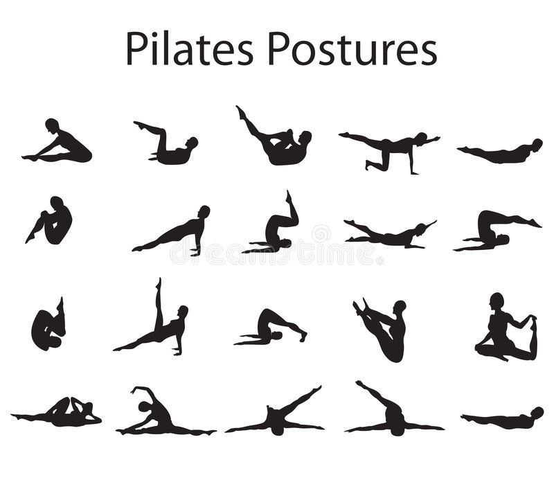 Pilates Postures posiciones libre illustration