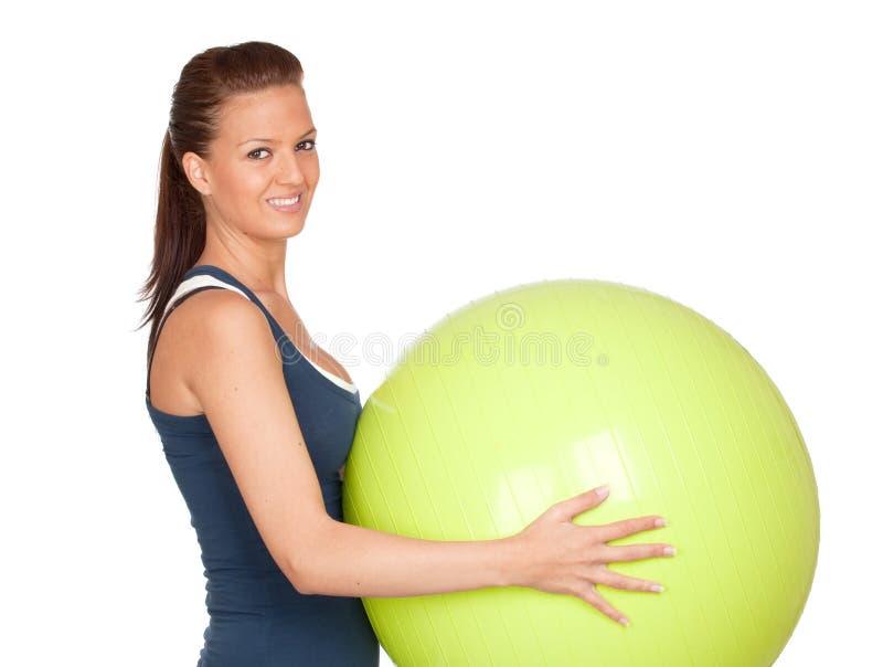 Pilates praticando da menina atrativa fotografia de stock royalty free