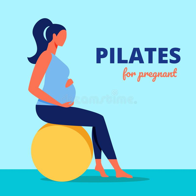 Pilates for Pregnant. Woman Sits on Gymnastic Ball. Pilates for Pregnant. Pregnant Woman Sitting on Yellow Gymnastic Ball. Sports Training for Women. Vector royalty free illustration