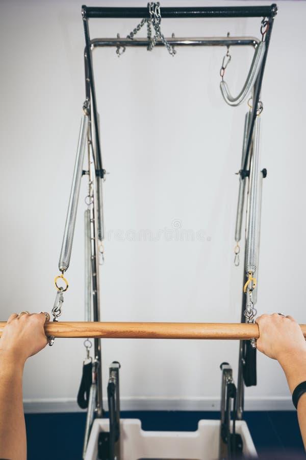 Pilates reformer equipment stock image