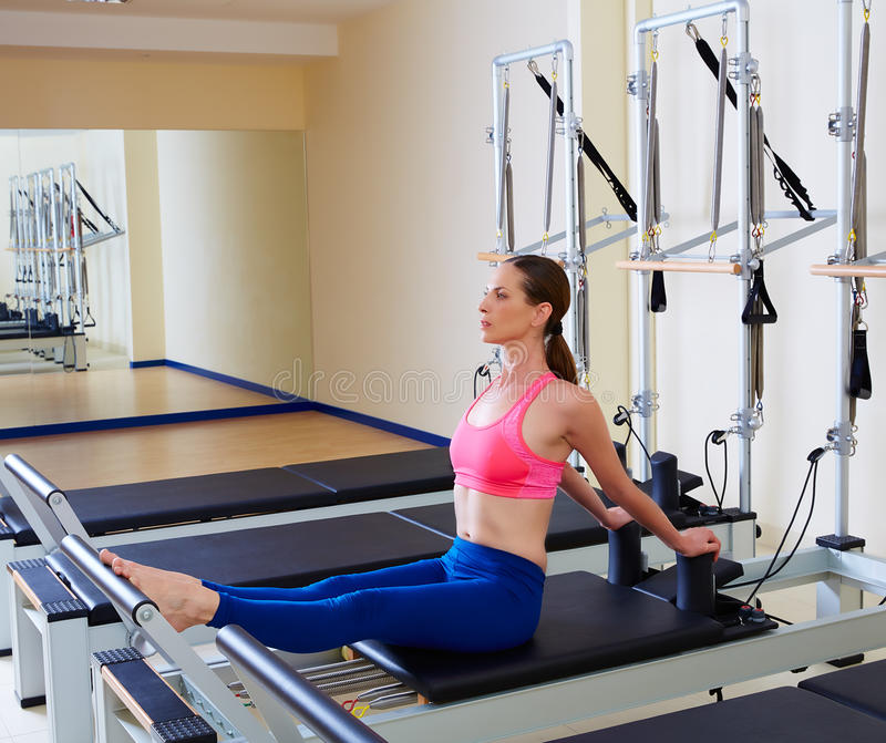 Pilates reformer woman stomach massage flat royalty free stock image