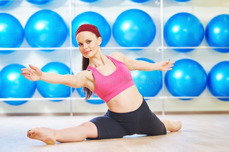 Pilates stretching exercises stock images