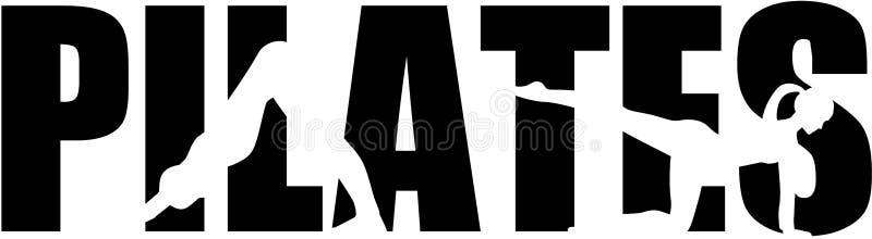 Pilates-Wort mit Ausschnitten lizenzfreie abbildung