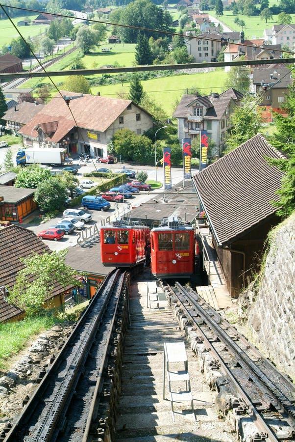 Pilatus火车,世界的最陡峭的钝齿轮铁路 免版税库存照片