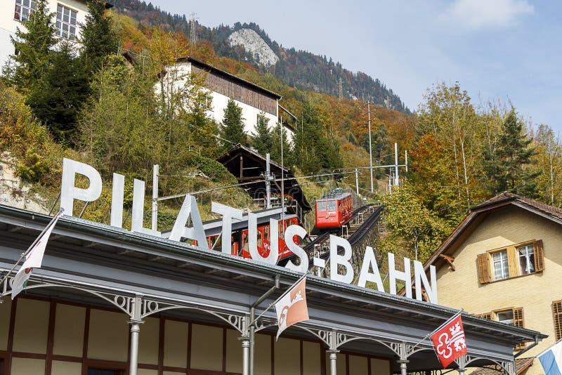 Pilatus Bahn/Berg Pilatus-Station lizenzfreie stockfotos