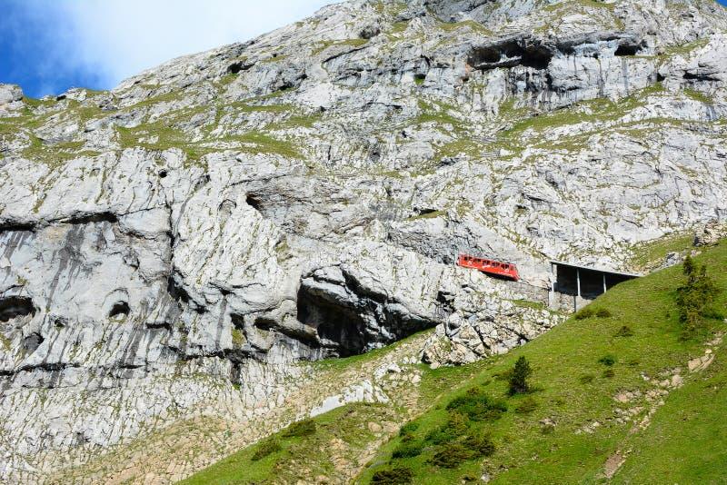 Pilatus-Bahn, die Welt-` s steilste Zahnradeisenbahn lizenzfreie stockfotografie