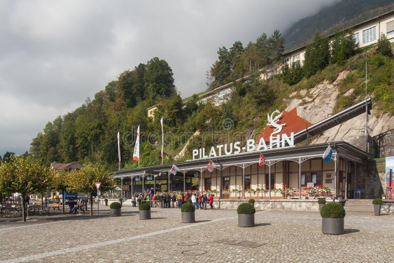 Pilatus-Bahnstation lizenzfreies stockbild