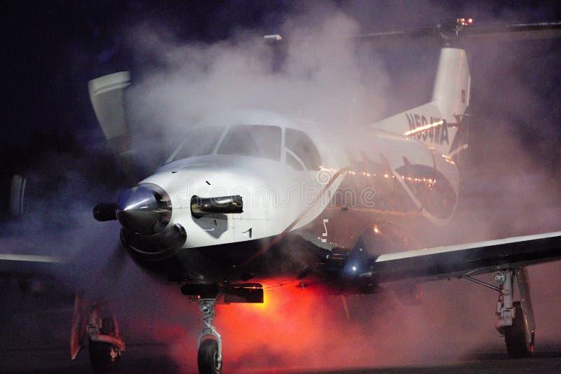 Pilatus PC-12关闭了 库存照片