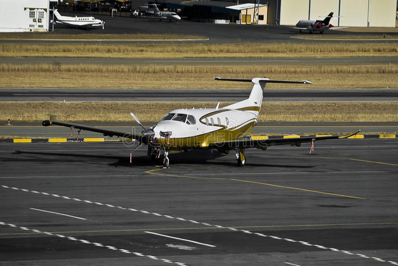 Pilatus PC-12/45. Parked on the the apron stock images