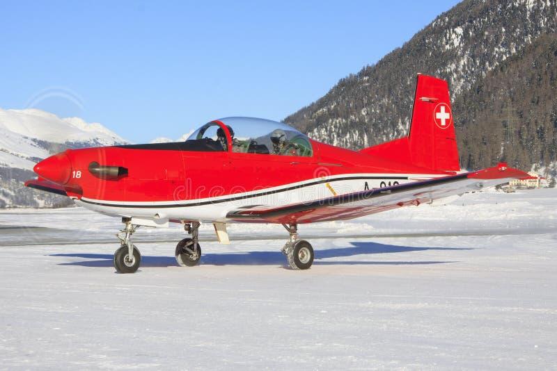 Pilatus PC-7 van de Zwitserse Luchtmacht royalty-vrije stock foto