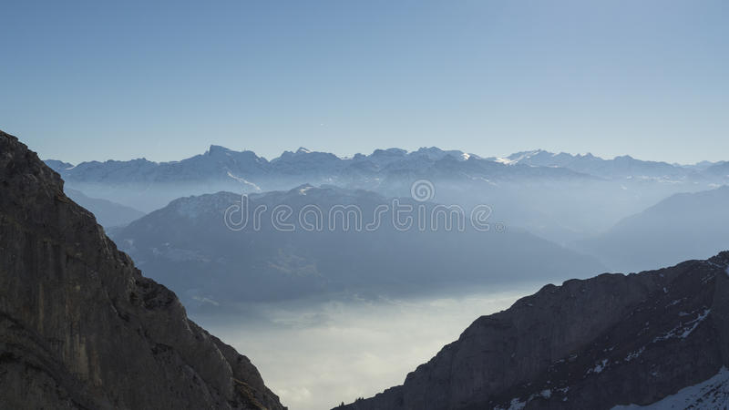Pilatus snow mountain of Switzerland. royalty free stock image
