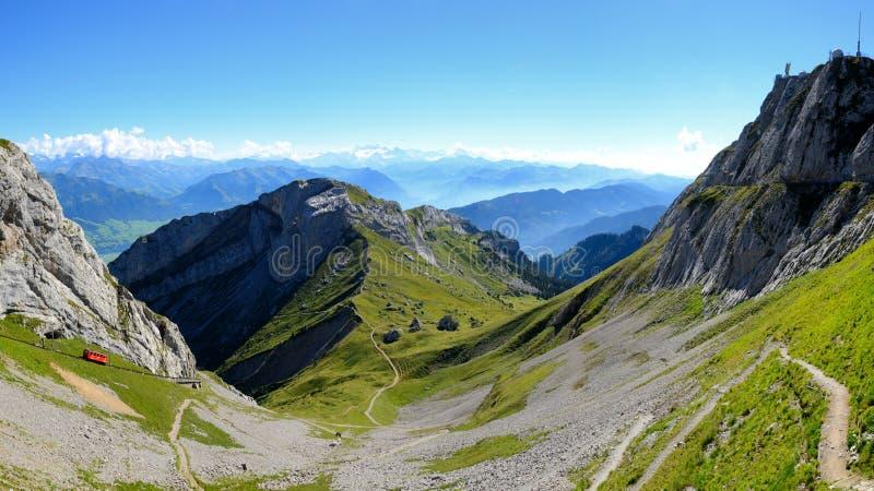 Pilatus train, the world& x27;s steepest cogwheel railway nears the t. Op of Mount Pilatus, Swiss royalty free stock image
