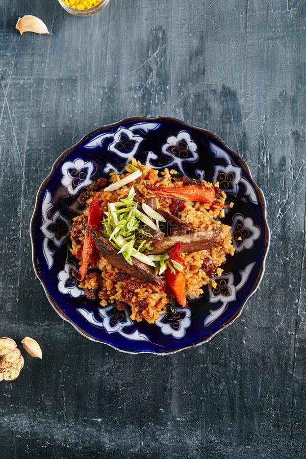 Pilaf, Pilau or Plov with Beef Meat royalty free stock photo