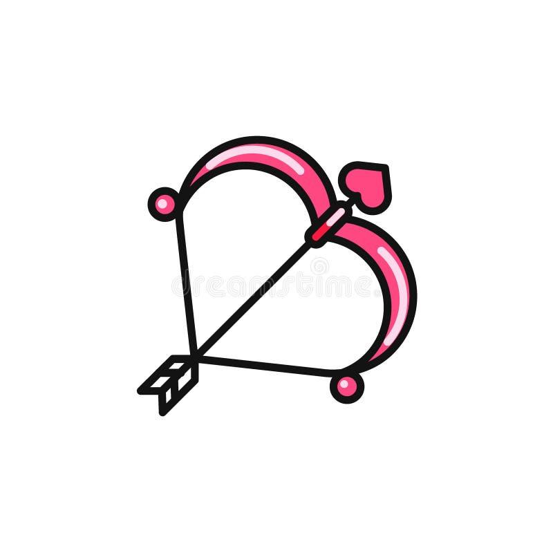 Pilbåge för valentindagkupidon och plan symbol för pil vektor illustrationer