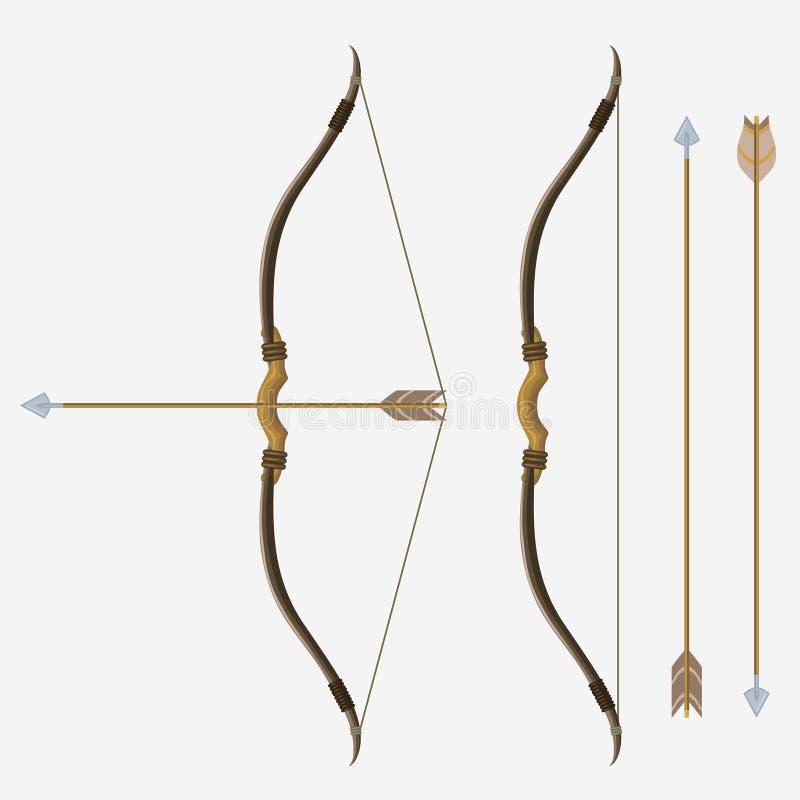 Pilbåge och pil, vektor royaltyfri illustrationer