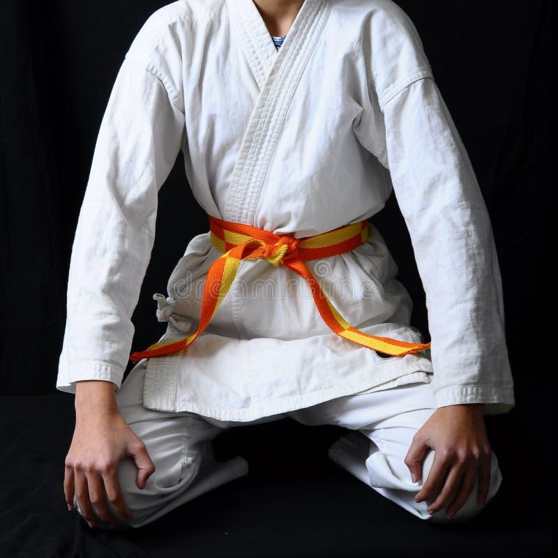 pilbåge på karatebältet royaltyfri bild