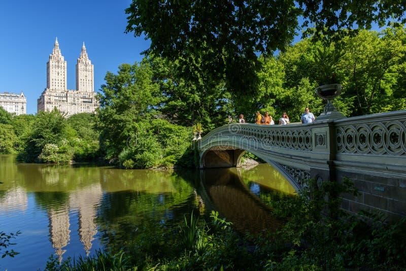 Pilbågebro för NYC Central Park royaltyfri fotografi