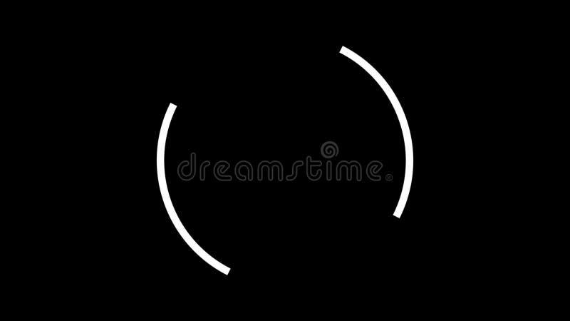 Pilbågen för abstrakt begrepp två formade neonlinjer inflyttning en cirkel en och en på svart bakgrund, sömlös ögla djur vitt royaltyfri illustrationer