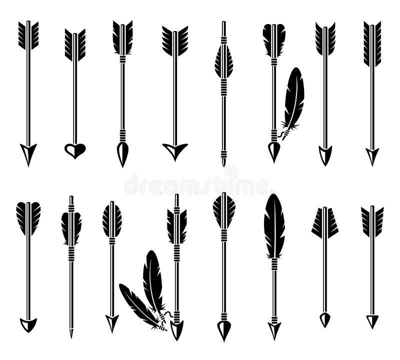 Pilbågepiluppsättning vektor stock illustrationer