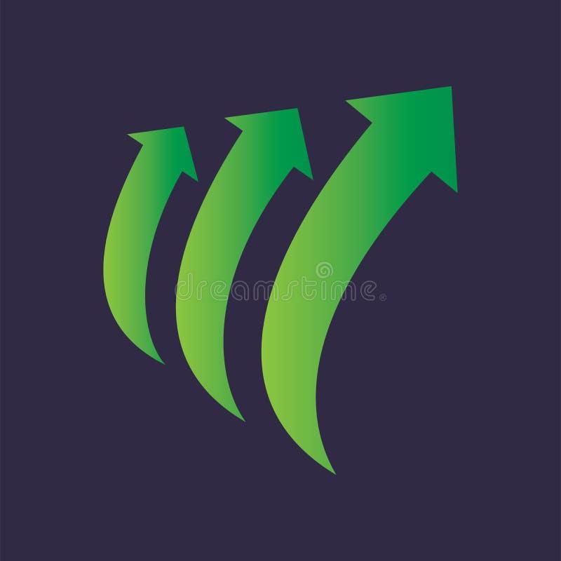 Pilcirkuleringsmoment upp Logo Vector vektor illustrationer