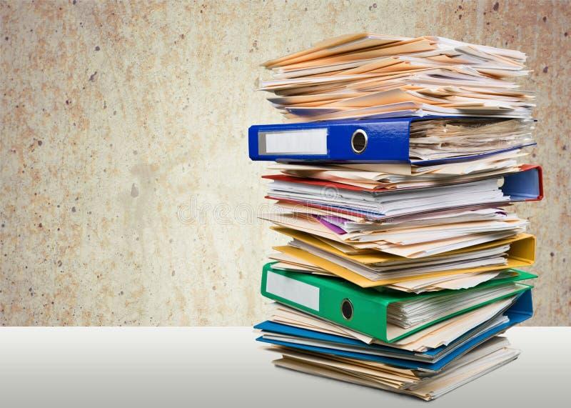 Pile, écritures, papier photo stock