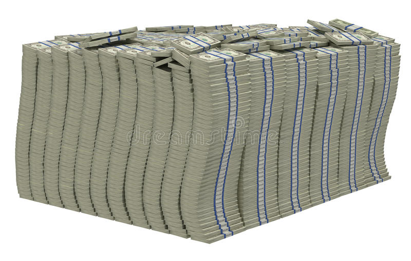 Pile énorme des dollars US D'isolement illustration libre de droits