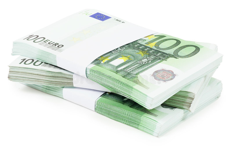 Download Pile of 100 Euros stock image. Image of currency, work - 3464347