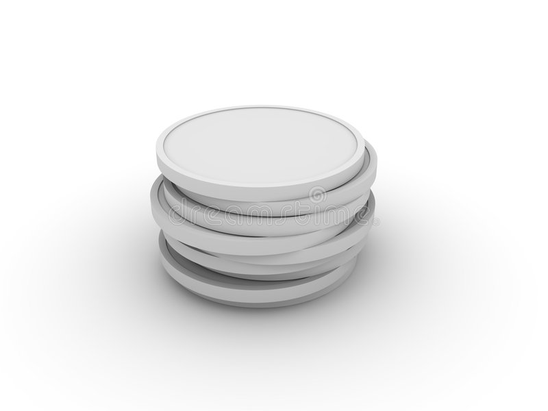Pile of 3D coins vector illustration