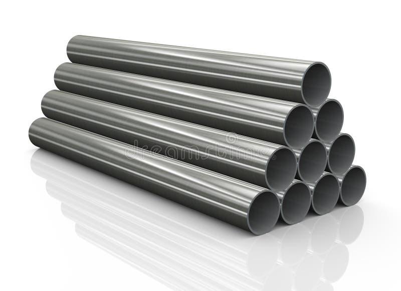 pile 3d de tuyaux d'acier illustration de vecteur