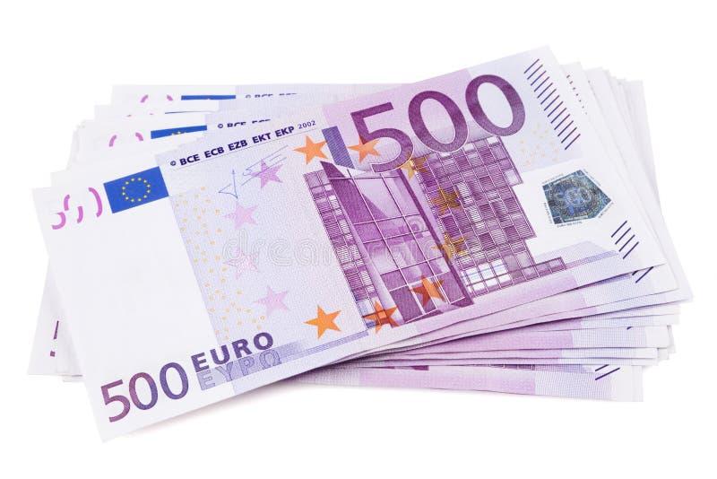 Pile of 500 euro banknotes royalty free stock photos