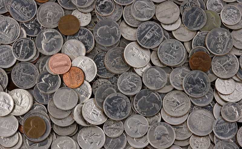Download Pile of American Coins stock photo. Image of change, pile - 633100