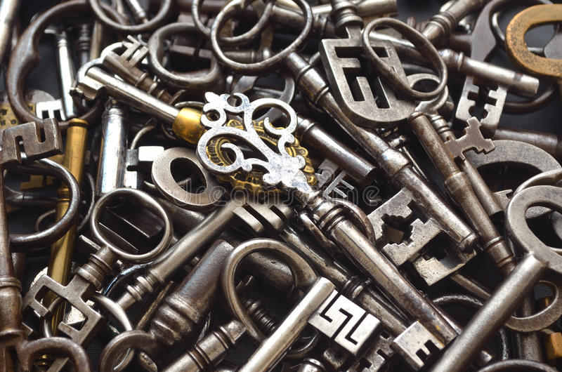 A Pile of Antique Keys royalty free stock photos