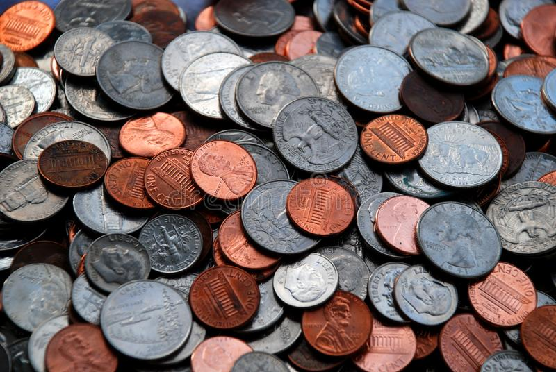 Pile of Assorted US Coins royalty free stock photos