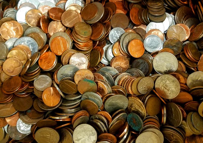 A pile of loose change coins royalty free stock images