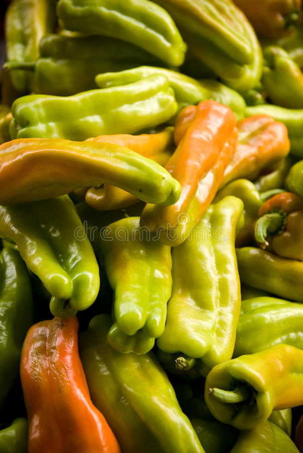Pile of banana peppers stock photos