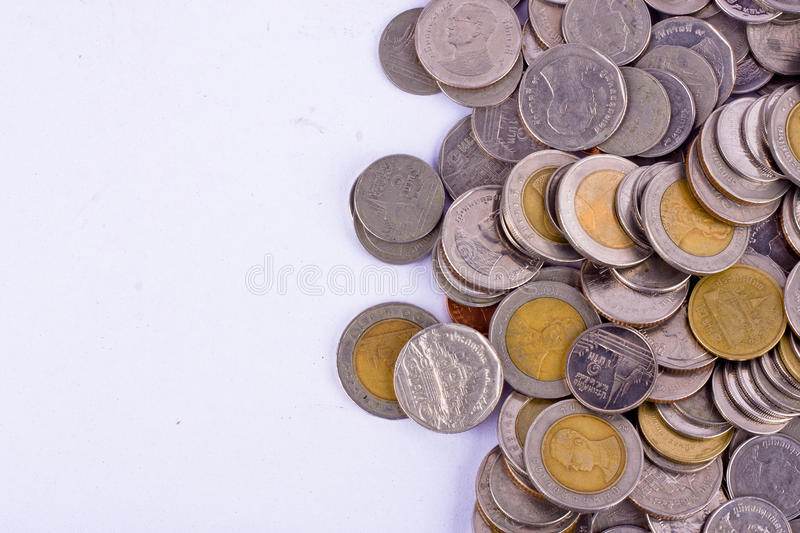 A pile of bath coins on white background finance business isolated stock image